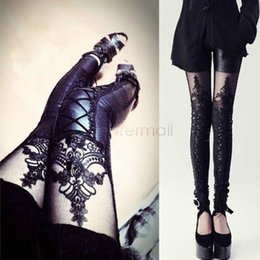 Wholesale Lace Punk Leggings - New 2014 Punk PU Leather Stitching Embroidery Bundled Hollow Lace Leggings for Women Free Size 38 SV009304
