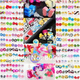 Wholesale Polymer Clay Ear Studs - Wholesale 240pairs Mixed Kids Children Fimo Polymer Clay Earrings animal butterfly Ear Rings studs Unisex Jewelry
