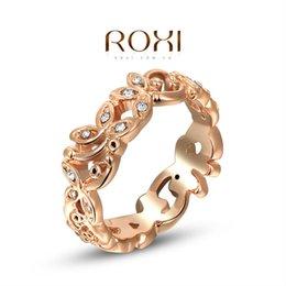 Wholesale Tension Set Zircon Ring - 015 ROXI Tension Setting Christmas Delicate Blue Zircon rings Man-made Fashion Rose Plated Fashion Ring Wedding