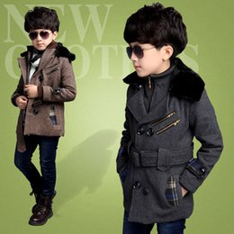 Wholesale Padded Coats For Boys - Wholesale-2015 Winter New Boys Overcoat,Fur Collar Thick Cotton-Padded Long Jacket For Boys Winter Jacket,Children Parkas,Height 110-160CM