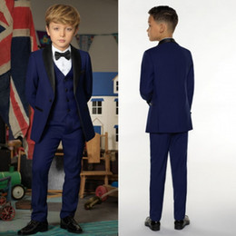 Wholesale silver kids tuxedo - Handsome Three Pieces Of Boys Suits With Jacket+Waistcoat+Pants Polyester High Quality Gentleman Navy Blue Style Kids Tuxedos Suits