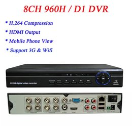 Wholesale D1 H 264 - Free shipping D1 Recording H.264 1080P 960H 8CH HDMI VGA Video Output 8CH Audio In DVR with 3g Wifi