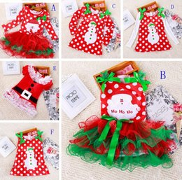 Wholesale santa skirts - Girls christmas dress babies clothes kids holiday clothes children dresses for girl Santa Claus snowman printed child infant lace tutu skirt