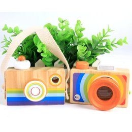 Wholesale Christmas Cameras - Rainbow Children Wooden Simulation Camera kaleidoscope Christmas Kids Travel Toy Baby Safe Natural Wood Birthday Gift Decoration Kids' Room
