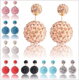 Wholesale Coloured Earrings - Shambhala Double Side ball Stud Earrings Shining Rhinestone small crystal Earrings Candy colour High Grade ears nail gift For Women girls