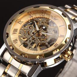 Wholesale Steampunk Mechanical Skeleton Watches - Mens Classic Transparent Steampunk Wristwatch Skeleton Mechanical Man Stainless Steel Watch