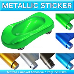 Wholesale Vinyl Sticker Pearl - Super Glossy Metallic Pearl Vinyl Wrap High Poly Metallic Chrome Pearl Blue Car Stickers Bubble Air Free Release 1.52x20M 5x65Ft