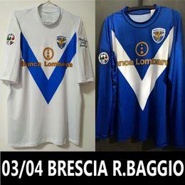 Wholesale Lycra Shirts Men - 03 04 Brescia Calcio Roberto Baggio Last Retro Soccer Jersey Retired Lycra Game 2004 Italia Throwback Vintage Classical Football Shirts