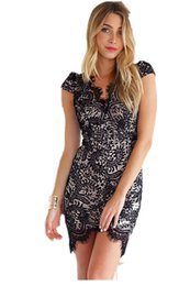 Wholesale Sexi Vestidos - Wholesale-dress to party vestidos club sexi 2015 vestido curto de renda festa Graceful Black V Neck Scalloped Trim Lace Mini Dress LC21915