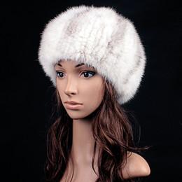 Wholesale White Fur Hats Mink - Wholesale-2015 New Russian Women Winter Knit Fur Beret Natural Knitted Rex Mink Fur Hats MZ130