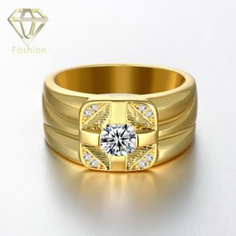 Wholesale Cluster Engagement Ring Rose Gold - Promise Rings for Men Smooth Luxury Brand Wholesale 18K Rose White Gold Plated Round Shape Antiallergic Jewelry Engagement Ring for Lovers