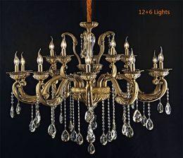Wholesale Fluorescent Chandelier Bulbs - Living Room European Retro Classic Copper Zinc Alloy Crystal Chandelier Bedroom E14 Bulb Candle Imitation Copper Ceiling Lights Pendant Lamp