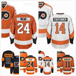 Wholesale Read Orange - Matt Read Jersey 24 Sean Couturier Jersey 14 Travis Konecny 11 Ice Hodkey Jerseys Philadelphia Flyers Orange White Black Stitched S-3XL