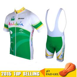 Wholesale Cycling Bib Shorts Green - 2015 Andalucia Summer Cycling Jerseys Roupa Ciclismo Quick-Dry Lycra GEL Pad Race MTB Bike Bib Pants Outdoor MTB mountain biking clouthes