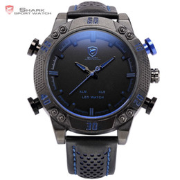 Wholesale Shark Military Sports Watch - Kitefin Shark Series Blue LED Back Light Auto Date Display Leather Strap Quartz Digital Outdoor Sport Men Military Watch  SH265