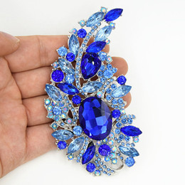 "Wholesale Large Pearl Brooch - 4.4"" Big Blue Crystals Brooch Luxury Wedding Bridal Bouquet Large Brooch Elegant Women Gift Costume Broach Pins For Party Hot Selling"