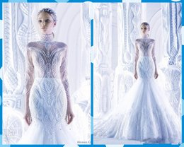 Wholesale Michael Cinco Wedding Gowns - Wholesale -white Michael Cinco Wedding Dresses Spring 2016 A-Line Organza Lace High Neck Bridal Gowns Appliques Beads Beading Dress Cathedra