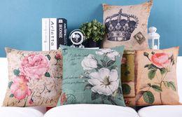 Wholesale Floral Couches - European Retro Vintag Style Cushions Pillows Covers Crown Flower Floral Rose Cushion Cover Decorative Sofa Couch Linen Cotton Pillow Case