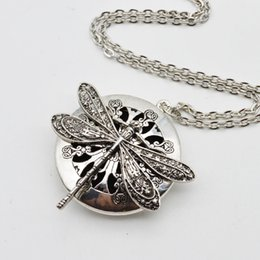 Wholesale Gray Crystal Necklace - 5pcs Dragonfly Design Lockets Vintage Essential Oil Diffuser Necklace Aromatherapy Lockets Pendant For Christmas Gift Xl -44
