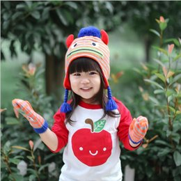 Wholesale Crochet Gloves For Boys - New Baby Kintting Hat Glove Fashion Korea High Quality Kids Caps Halloween Accessories for Wholesale Free Shipping
