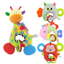 Wholesale Giraffe Animals Mobile - Wholesale- Monkey Giraffe Owl Fish Animal Stuffed Doll Soft Plush Toy Newborn Baby Kids Rattles Mobiles Infant Stuffed Hanging Toys