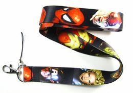 Cómics de teléfonos celulares online-Lote 30 piezas Comics Super Hero Lanyard Teléfono celular PDA Clave ID correa larga