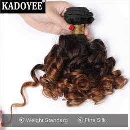 Wholesale Ombre Style - Brazilian Virgin Hair Weave Bouncy Curly Weave Human Hair Bundles natural ombre color1b 30 Short Bob style Hair Extensions Free Shipping