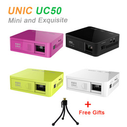Wholesale Lcd Projector Build Hdmi - Original UNIC UC50 Handheld Micro DLP LED Home Theater Projector 800lumens Mini Projector Battery Build-in with USB SD AV HDMI