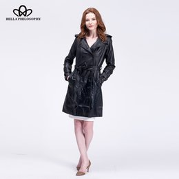 Wholesale New Faux Jacket Trench - Wholesale- 2016 winter new double-breasted long coat Slim pu faux leather female long trench coat jacket belted