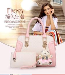 Wholesale Cheap Patchwork Handbags - Fashion Womens Patchwork Handbags With Purses 2pcs Set PU Leather Girls Cheap Handbags With High Quality Composite Bag
