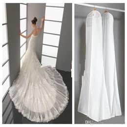 Wholesale Dress Dust Covers - 2016 Wedding Dress Bags White Dust Bag Travel Storage Dust Covers Bridal Accessories For Bride Garment Cover Travel Storage Dust Covers