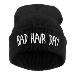 Wholesale Snap Back Plain - Fashion Winter Unisex Men Women's Hats Bad Hair Day Letter Print Snap Back Beanie bonnet femme gorro Knit Hip Hop Punk Hat Cap