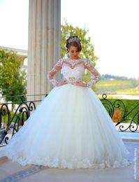 Wholesale Monarch Length Wedding Dress - Modern Ball Gown Wedding Dresses With Long Sleeve 2016 Sheer Neck Vestidos de Novia Floor Length Applique lace Simple Bridal Gowns