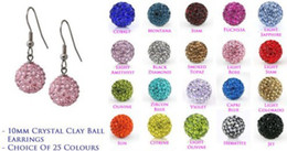 Wholesale Drop Shamballa Earrings - Lowest Price!10mmfttfh Clay Mixed 20 Color MOW Crystal Micro Pave Disco Ball Silver Plated Shamballa Earrings drop Stud jewelry