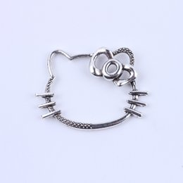 Wholesale New Kitty - New fashion Retro Hello kitty charm silver copper DIY jewelry pendant fit Necklace or Bracelets 50 pcs lot #5135