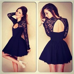Wholesale Long Night Gown L - Summer New Fashion Casual Black open-back Cute Evening Dress Elegant Homecoming Black Sexy Lace Chiffon Women Party Dress new arrive!!