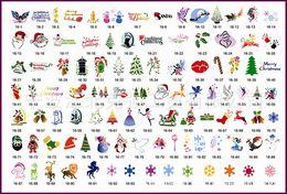 Wholesale Temporary Airbrush Tattoo Stencils Christmas - Free Shipping 100Pcs One book Christmas Pattern Design Mixed Temporary Tattoo Stencils For Body Art Glitter  Airbrush  Flash Tattoo