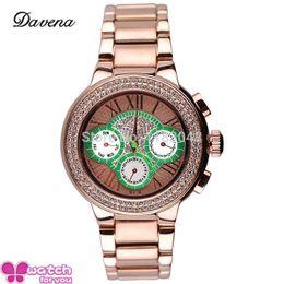 Wholesale Davena Watches - Wholesale-New women sport dress rhinestone watches fashion casual quartz watch steel wristwatch Top brand Davena 60365 Gold silver clocks