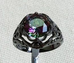 Wholesale Mystic Fire Topaz Rings - Free Shipping Black Gold Plated Rainbow Fire Mystic Topaz Rings