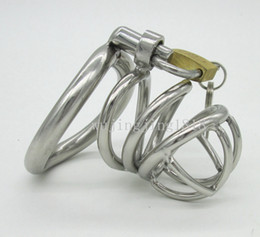 Wholesale Chastity Cage Belt Man - Stainless Steel Small Male Chastity device Adult Cock Cage With Curve Cock Ring Sex Toys For Men Bondage Chastity belt