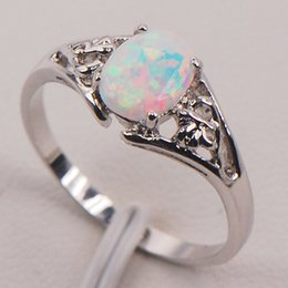 Wholesale Ring Topaz - White Fire Opal Australia 925 Sterling Silver Woman Jewelry Ring Size 6 7 8 9 10 11 F579