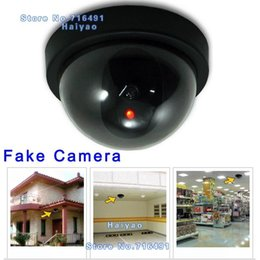 Wholesale Decoy Security Cameras - Free Shipping Emulational Fake Surveillance Security Decoy Dummy Dome CCTV DVR for Home Camera with flashing Red Led light Indoor Outdoor