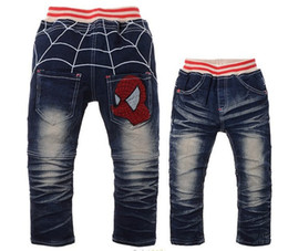 Wholesale Chinese Clothing Wholesale Free Shipping - Free Shipping 2015 Cartoon Spider Man Design Children Clothing Pants Boys Jeans kids clothes In Autumn Retail,CZ-009