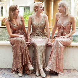 Wholesale Bridesmaids Dresses Different Styles - 2018 Country Long Sequined Bridesmaid Dress Different Style A Line Wedding Party Guest Gown Africa Evening Prom Formal Gown Boho Custom