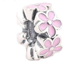 Wholesale Pandora Beads 925 Ale - 100% Sterling Silver Charms 925 Ale Pink Floral Enameled European Charms for Pandora Bracelets DIY Beads Free Shipping