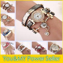 Wholesale Vintage Diamond Watches - 2015 New Arrivals women vintage leather strap watches Retro set auger rivet bracelet women luxury Diamond watches Fashion Tassel Wristwatch