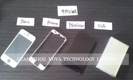 Wholesale Iphone 4s Glass Frame - White Black for Iphone 4  4s   5 5g   5s   5c LCD Digititizer Glass lens Screen + OCA + Polarizer + LCD frame ; DHL free
