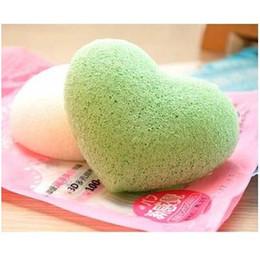 Wholesale Green Tea Men - AAA quality Natural Charcoal &Green Tea Beauty Heart Shaped Konjac Sponge Facial Cleansing Exfoliating puff Christmas gift