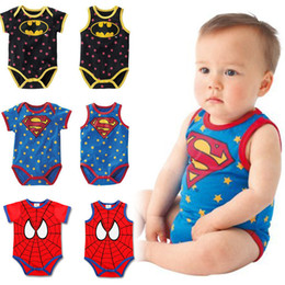 Wholesale Super Girl Romper - Cartoon Super hero Baby Romper Baby Clothes 100 cotton Superman short sleeved vest one-piece Clothing boys girls rompers Kids wear