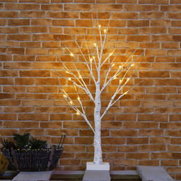 Wholesale White Finger Lights - Christmas 60cm 24 LEDs Battery Operated Desk Top Silver Birch Twig Tree Light White Branches Home Party Wedding Indoor Outdoor Decoration